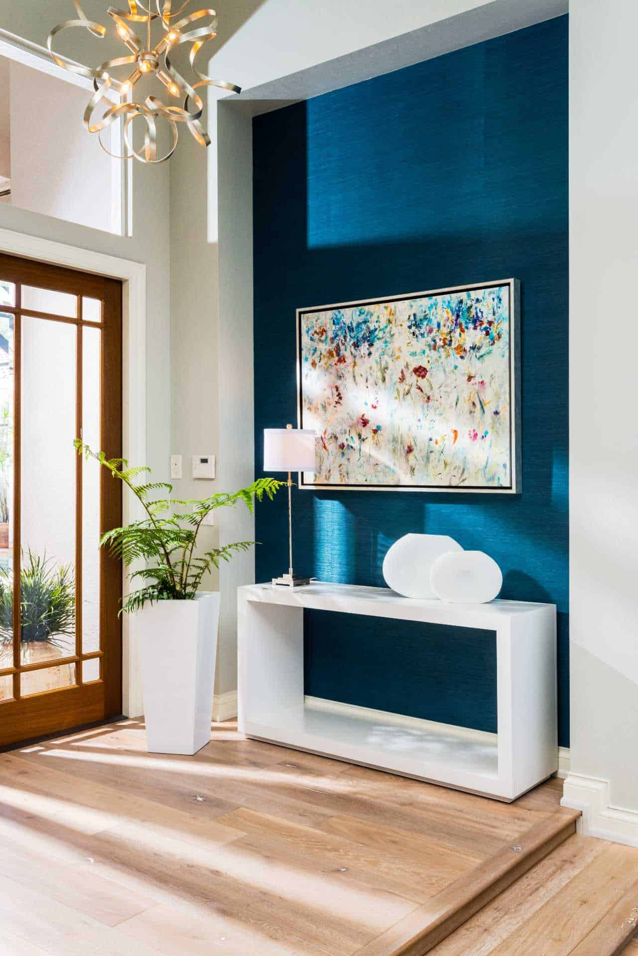 Entryway with lighting and contemporary furniture