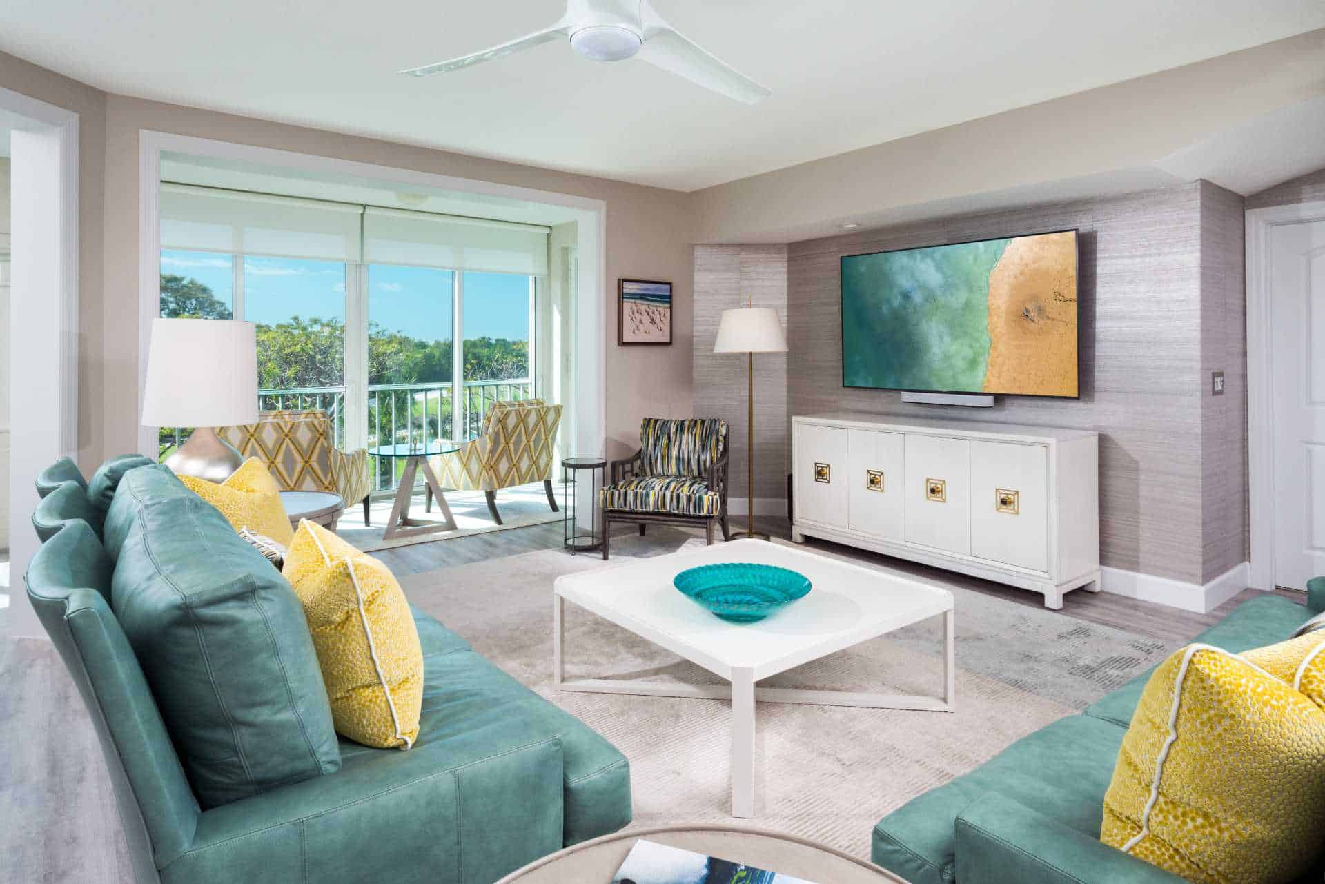Furnished living room with amenities and television
