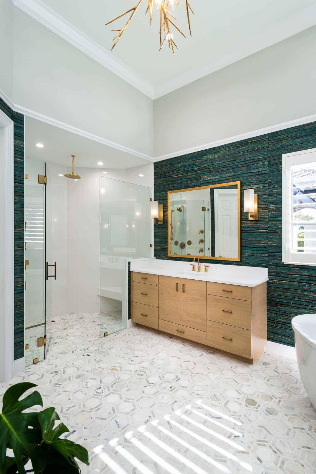 Full master bathroom with walk-in shower, bathtub, and sink